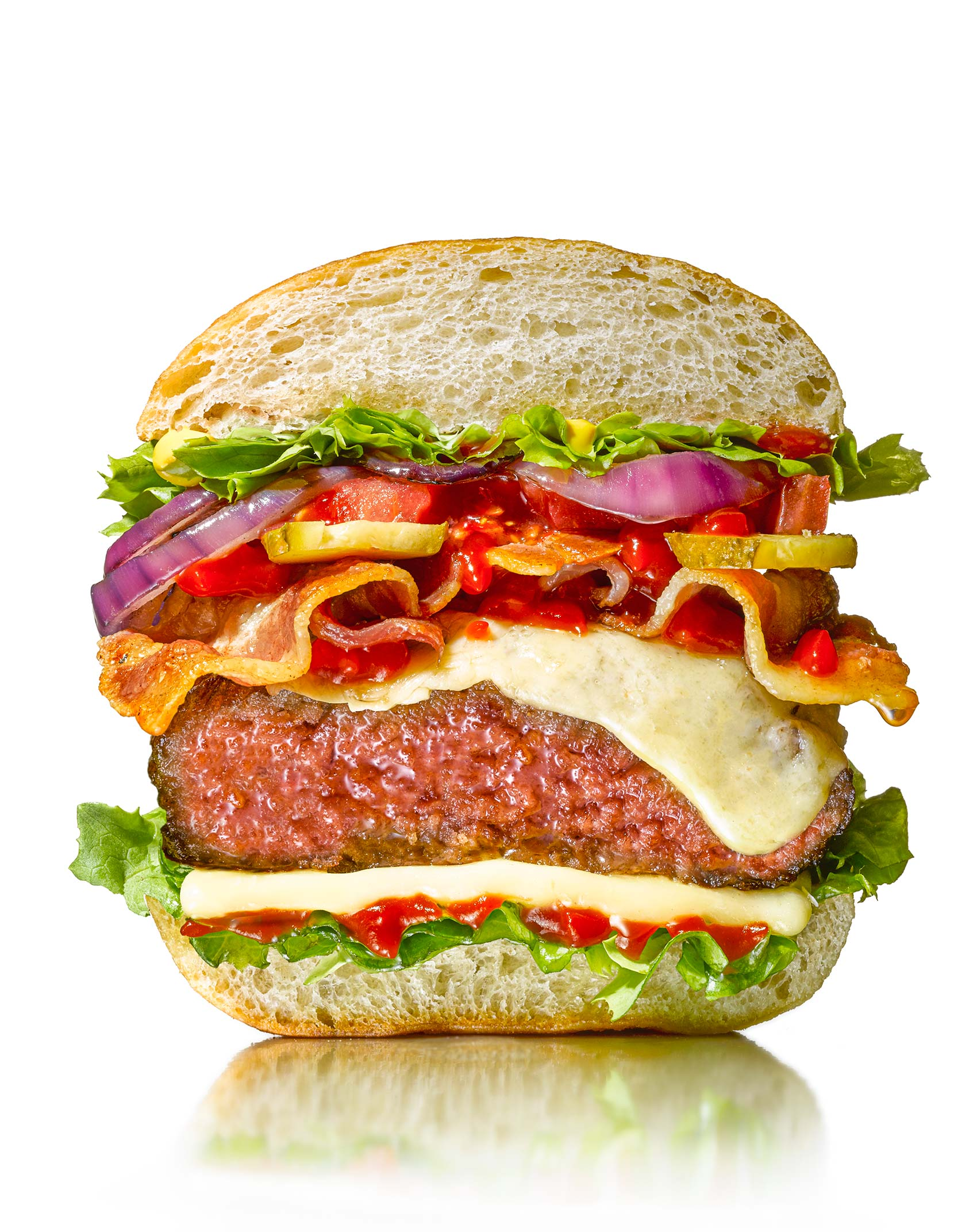 Burger sliced through | Colin Campbell - Food Photographer