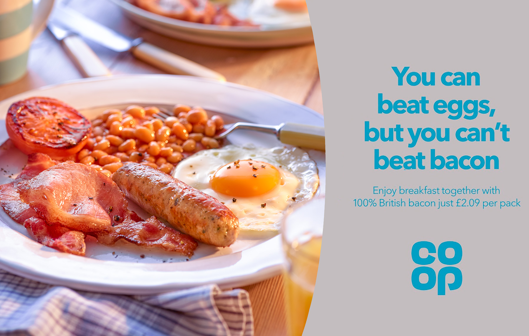 Co Op Breakfast bacon and eggs | Colin Campbell-Food Photographer