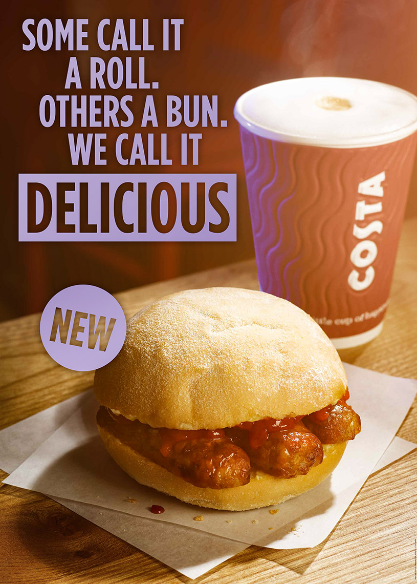 Costa Coffee  and sausage bap | Colin Campbell-Food Photographer