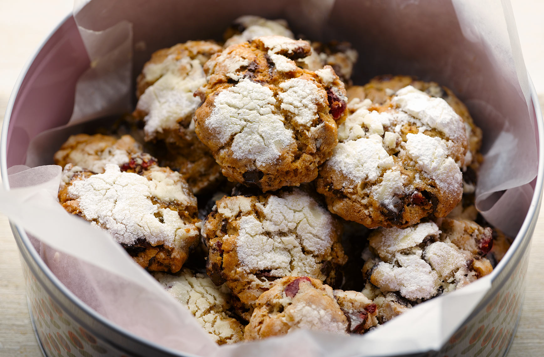 Cranberry and chocolate  snow cookies | Colin Campbell - Food Photographer
