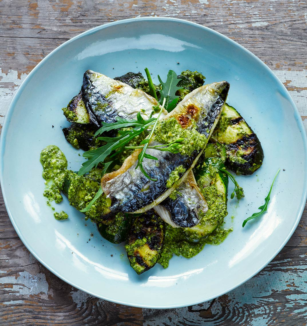 Grilled courgette and mackeral | Colin Campbell - Food Photographer