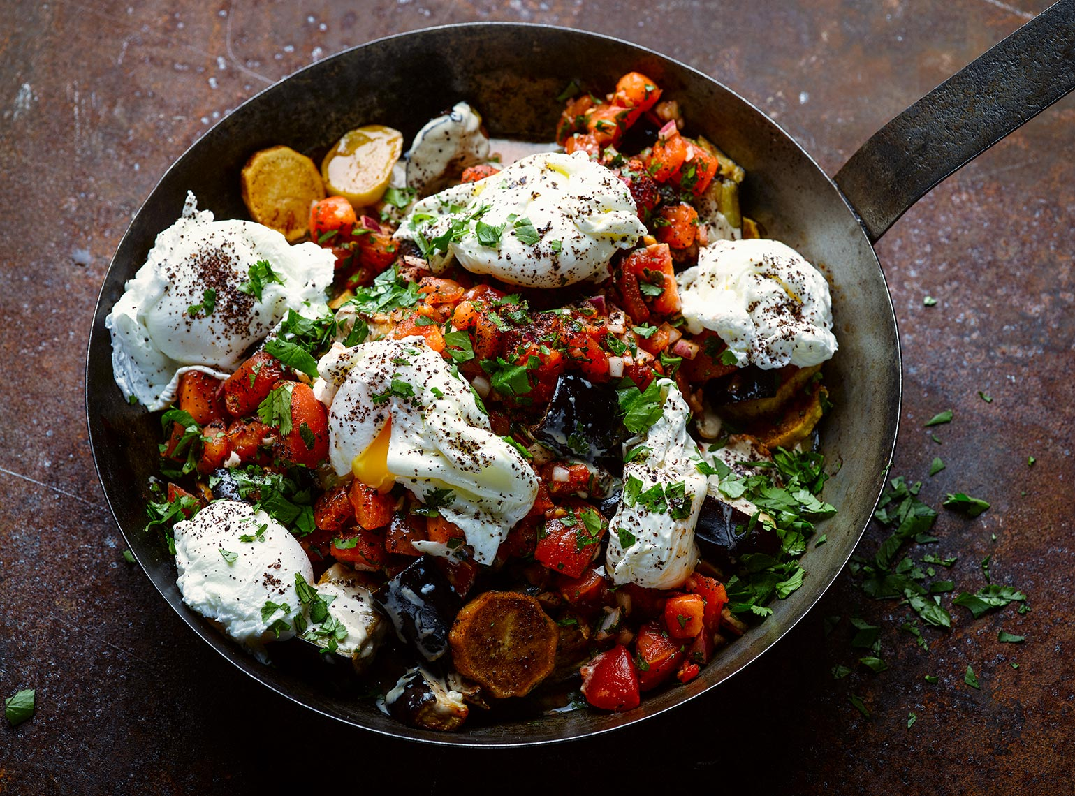Ottolenghi aubergine potato and tomato | Colin Campbell - Food Photographer