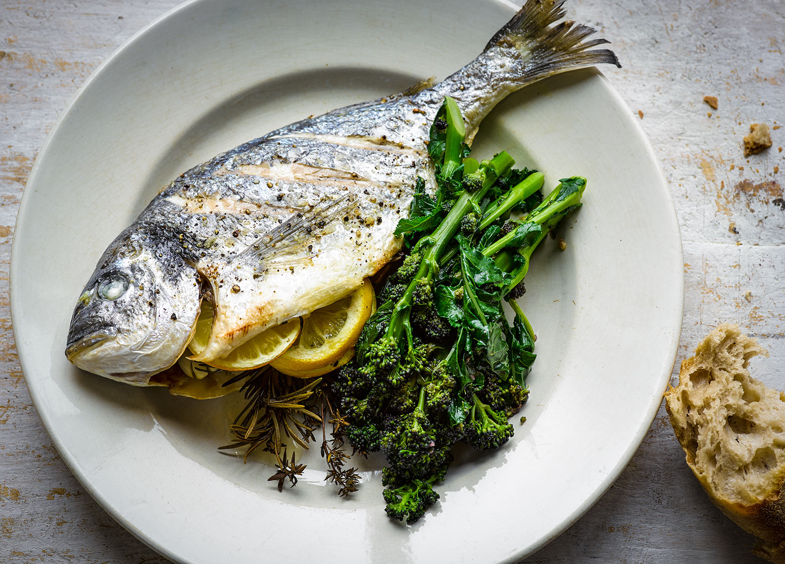 Sea Bream with sprouting broccoli | Colin Campbell - Food Photographer