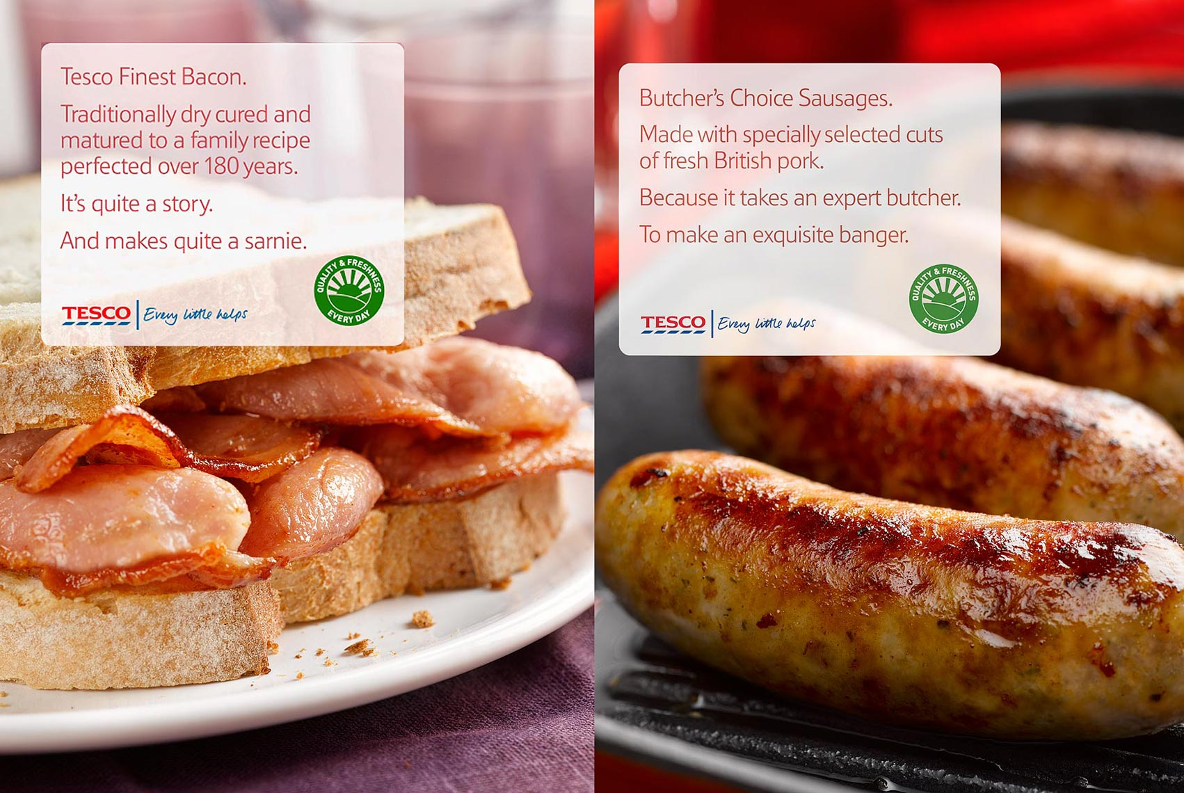 Tesco Bacon and Sausages | Colin Campbell-Food Photographer