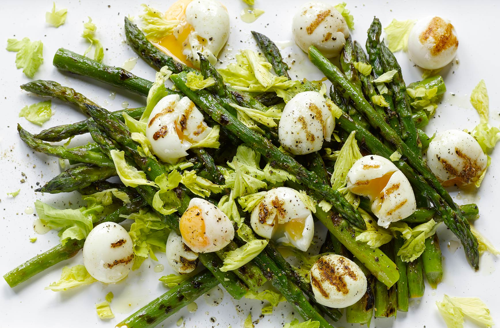 Asparagus celery and quail egg | Colin Campbell-Food Photographer