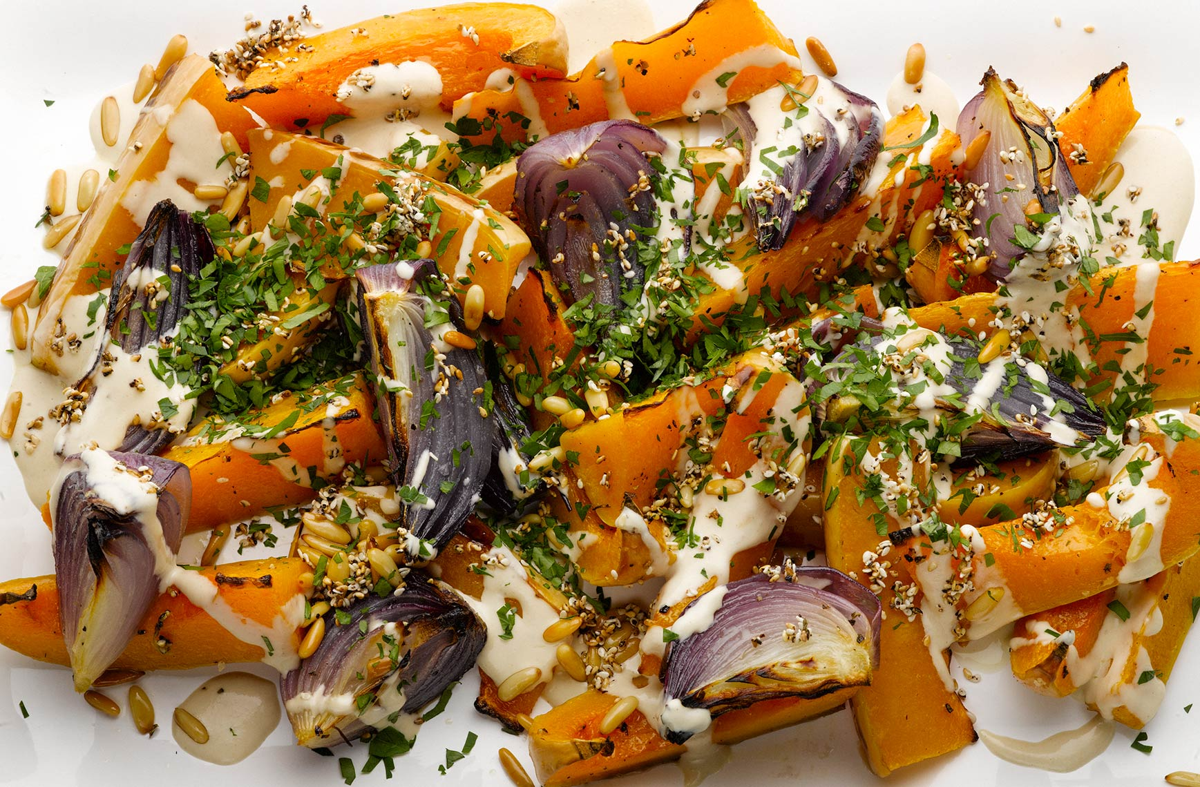 Ottolenghi butternut squash red onion tahini | Colin Campbell-Food Photographer